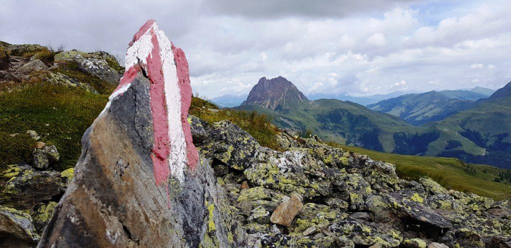 Wanderzeichen mit Blick zum Großen Rettenstein in den Kitzbüheler Grasbergen